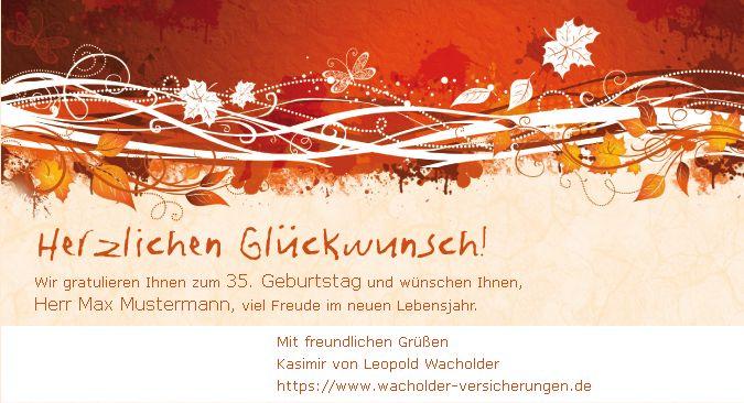 """Die Geburtstagskarte """"Herbstlaub"""" gehört zu den Klassikern. Ein geschmackvolles Design, dass sich nicht in den Vordergrund drängt."""