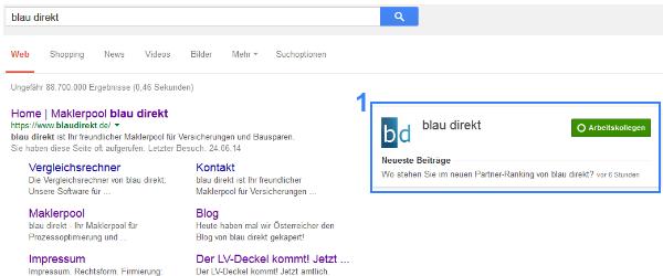 Darstellung in der Google Websuche mit google+ Verknüpfung