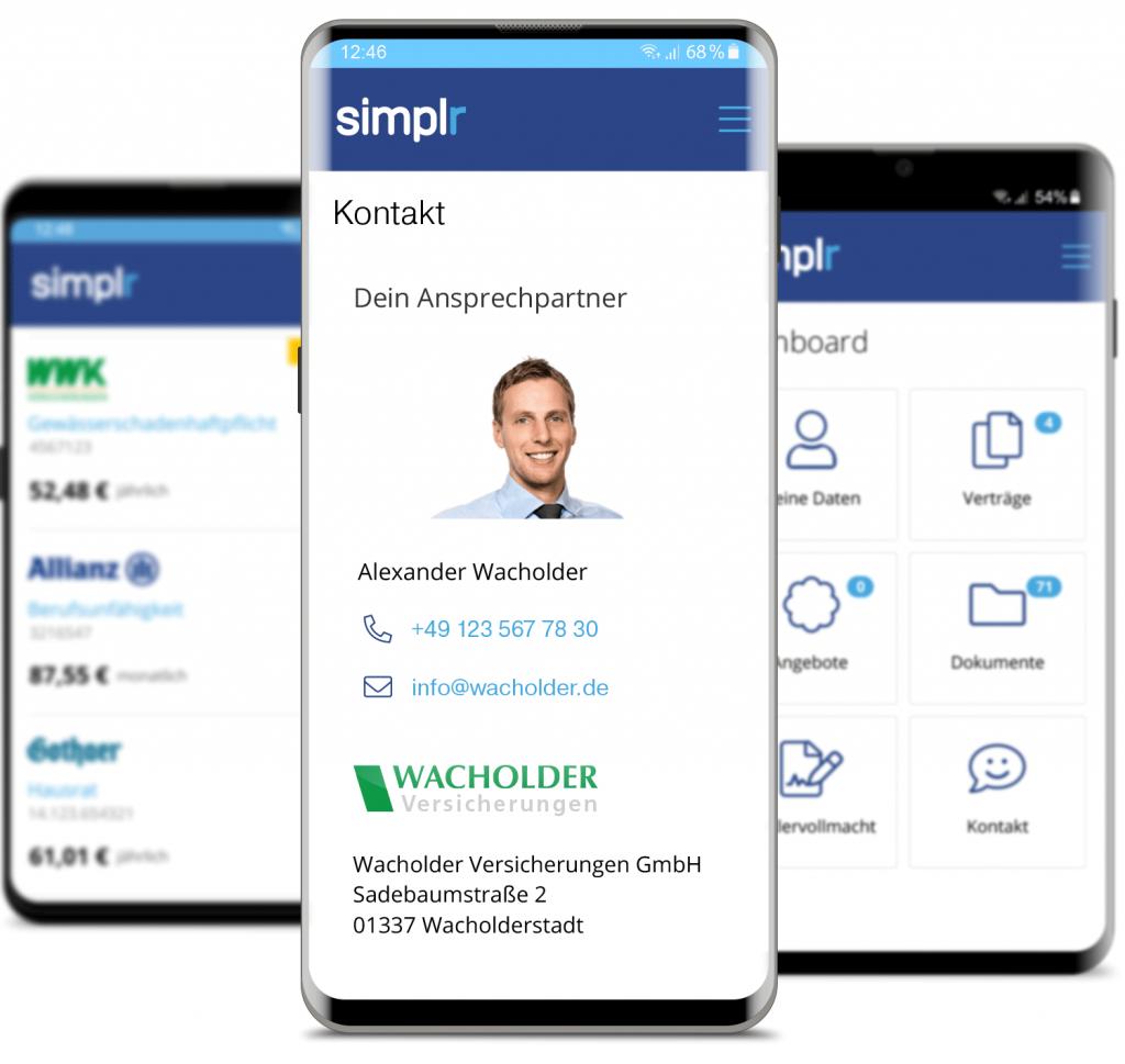 Screenshots von der simplr App