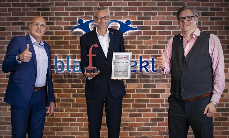 Auszeichnung blau direkt von der finanzwelt