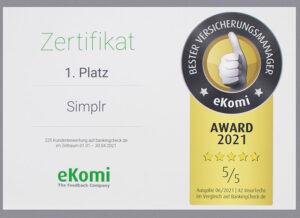 Kunden-App simplr wurde von BankingCheck und eKomi ausgezeichnet